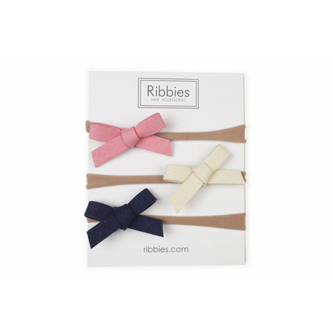 Nylon Headband Suede Bow Set - Sunshine