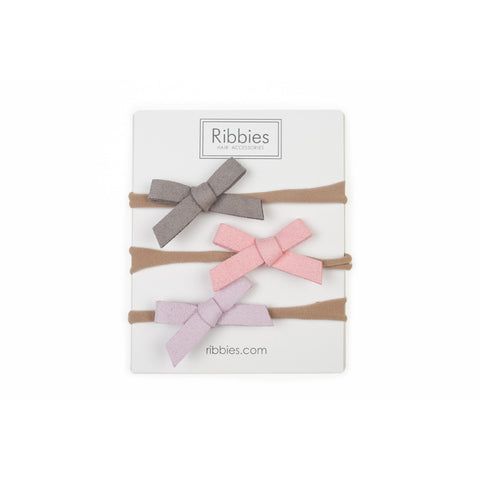 Nylon Headband Suede Bow Set - Pastel