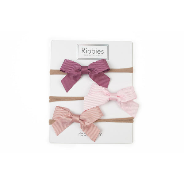 Nylon Headband Lauren Bow Set of 3 - Rose
