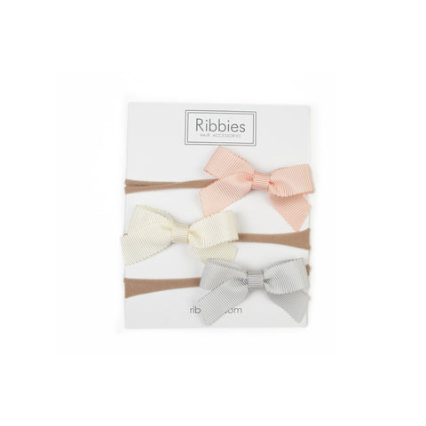 Nylon Headband Lauren Bow Set of 3 - Peach