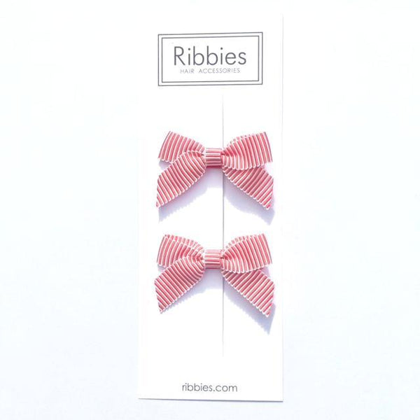 Lauren Bow Pair - Red and White Striped Satin