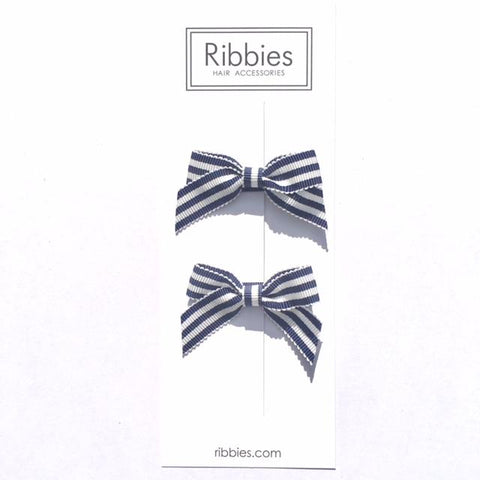Lauren Bow Pair - Navy & White Stripes - A