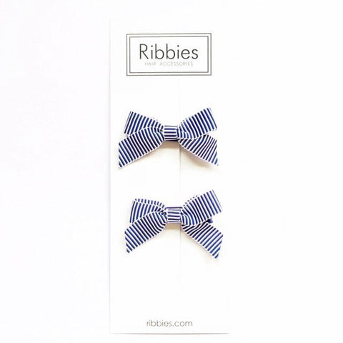 Lauren Bow Pair - Blue and White Striped Satin