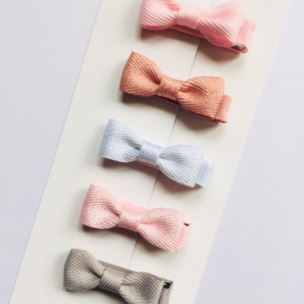 Set of 5 Baby Bows - Pastel and Glitter
