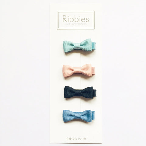 Set of 4 Baby Bows - Sky