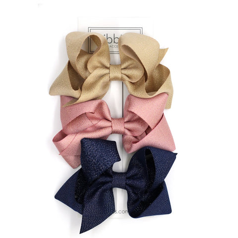 Extra Large Sparkly Hair Bows - Gold, Pink and Navy - Set of 3