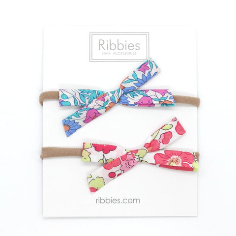 Nylon Baby Headband Liberty Bow Set of 2 - Bright Colours