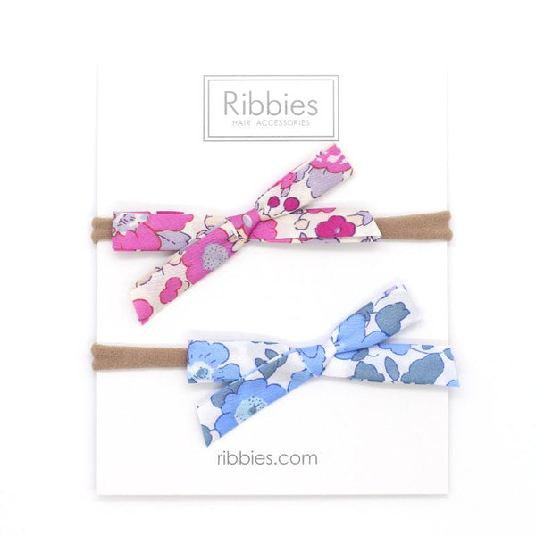 Nylon Baby Headband Liberty Bow Set of 2 - Betsy Pink & Blue