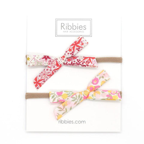 Nylon Baby Headband Liberty Bow Set of 2 - Red & Yellow