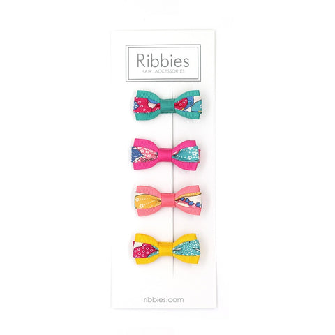 Set of 4 Liberty Bows - Mauvey Turquoise Pink and Yellow