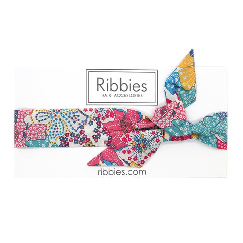 Bow Headband - Liberty - Mauvey Turquoise Pink And Yellow