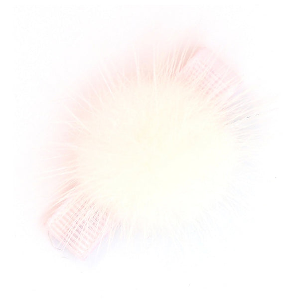 Fluffy Ball Clip - White on Pastel Pink