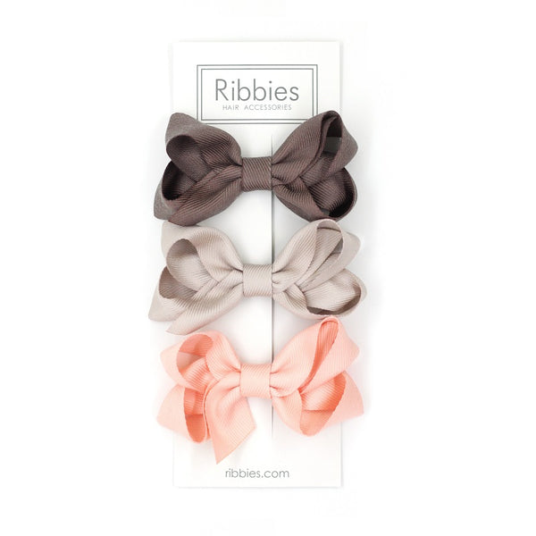 Medium Looped Hair Bows - Brown, Beige and Salmon Pink - Set of 3