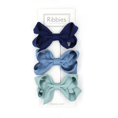 Medium Looped Hair Bows - Navy, French Blue & Aqua - Set of 3