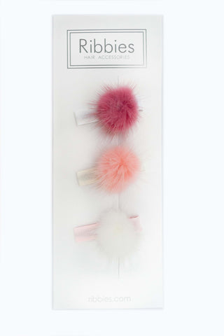Fluffy Ball Clip Set