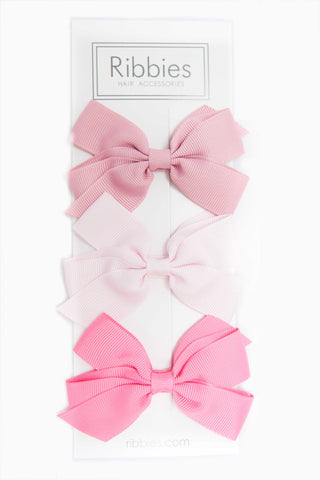 Set of 3 Medium Bows - Pink