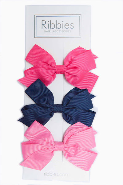Set of 3 Medium Bows - Pink & Navy