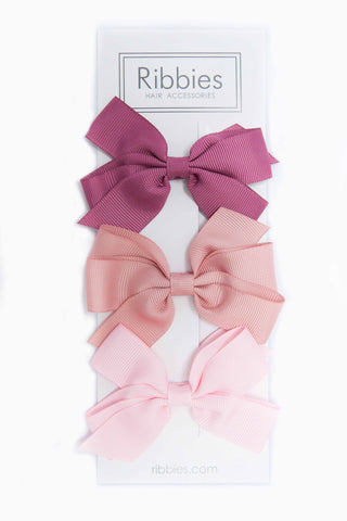 Set of 3 Medium Bows - Rose