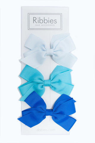 Set of 3 Medium Bows - Ocean Blue