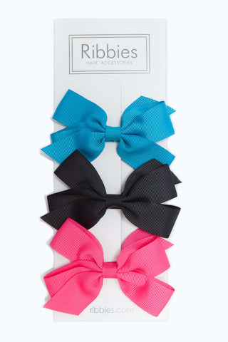 Set of 3 Medium Bows - Turquoise, Black & Pink