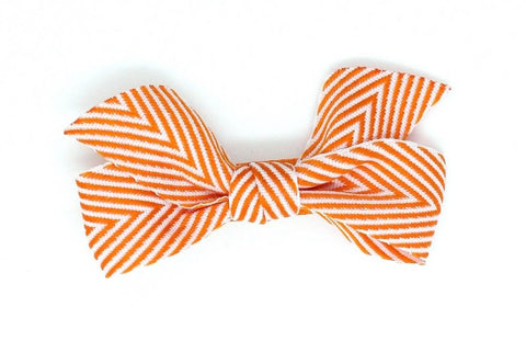 Thin Chevron Hairbow Orange