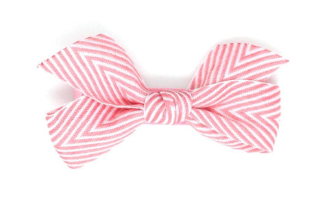 Thin Chevron Hairbow Hot Pink