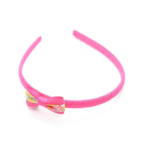 Hot Pink Small Bow Headband - Liberty Wiltshire Lemon Curd