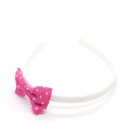 Polkadot Bow Headband - Pink on White