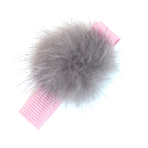 Fluffy Ball Clip - Grey on Pink