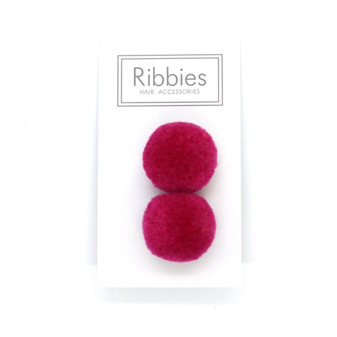 Pom Pom Elastic - Hot Pink on Grey