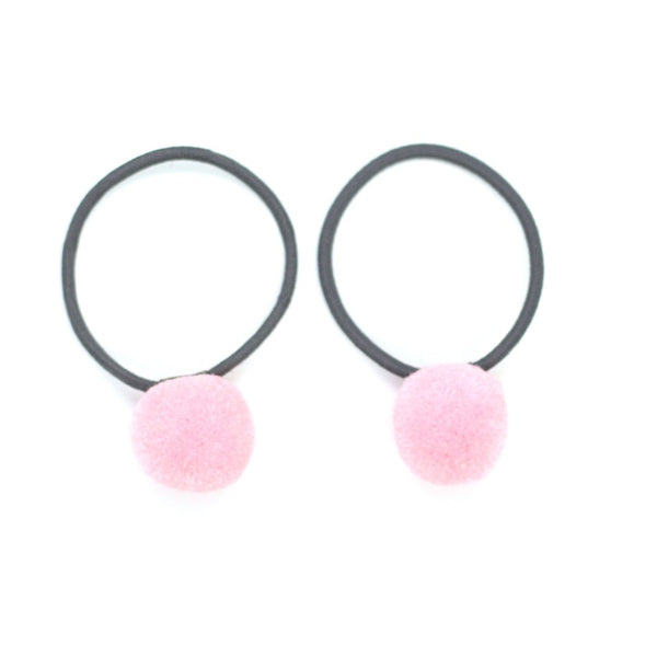 Pom Pom Elastic - Pastel Pink on Grey