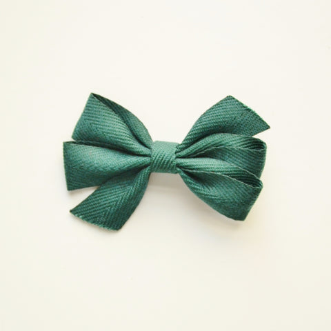 Medium Triple Bow Hair Clip - Forest Green