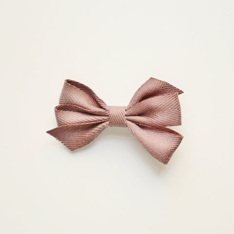 Medium Triple Bow Hair Clip - Brown