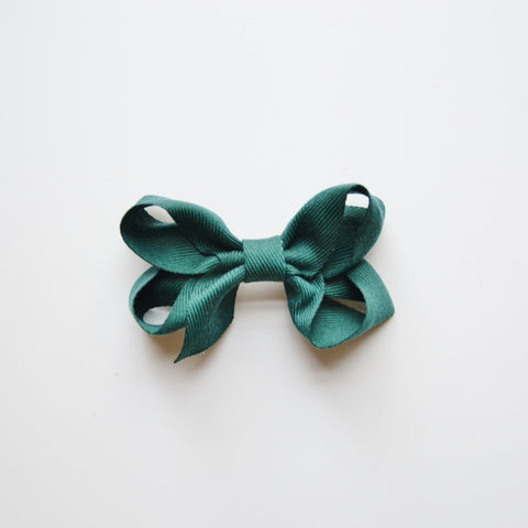 Medium Looped Hair Bow - Forest Green