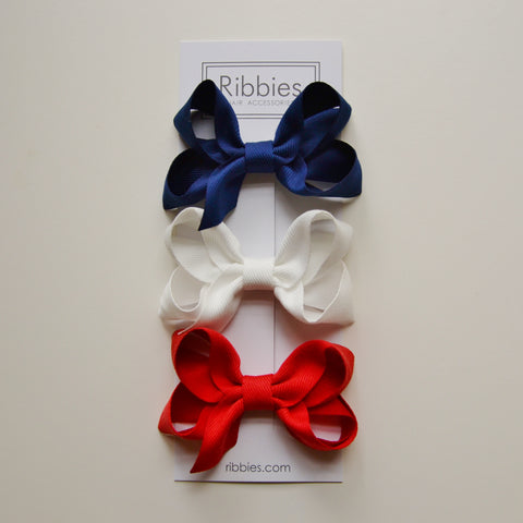 Medium Looped Hair Bows - Navy, White & Red - Set of 3