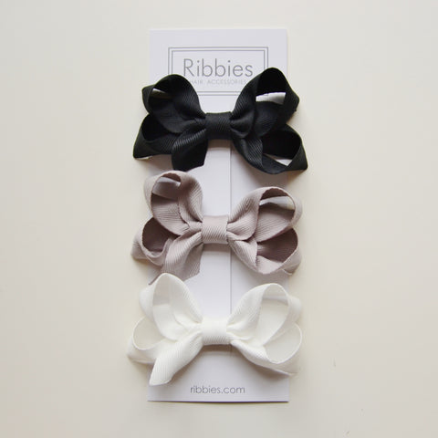 Medium Looped Hair Bows - Black, Grey & White - Set of 3