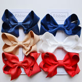 Extra Large Sparkly Hair Bows - Navy, Gold & Red - Set of 3