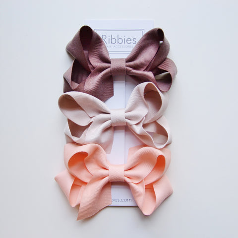 Extra Large Hair Bows - Brown, Beige and Salmon Pink - Set of 3
