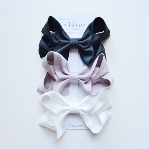 Extra Large Hair Bows - Black, Grey and White - Set of 3