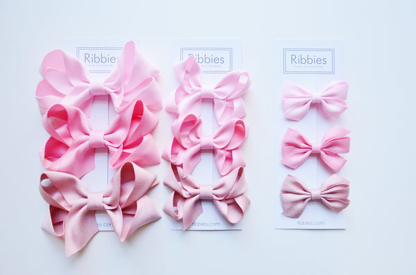 Set of 3 Medium Triple Bows - Pink