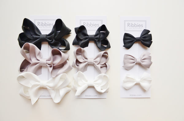 Set of 3 Medium Triple Bows - Black, Grey & White