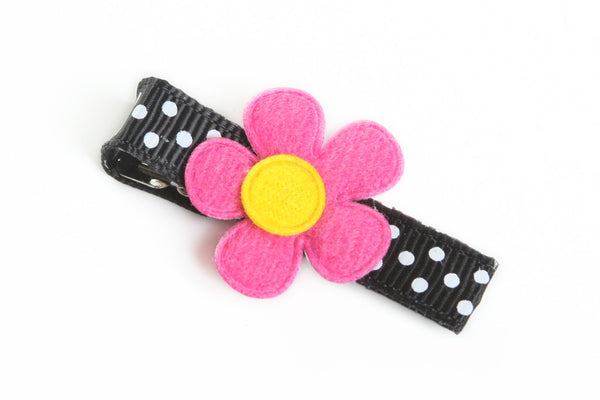 Pink Flower on Black Dotted Hair Clip