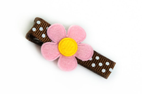 Pink Flower on Brown Dotted Hair Clip