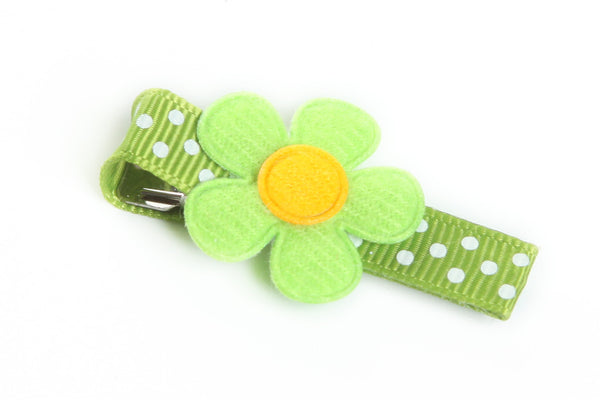 Green Flower on  Dotted Hair Clip
