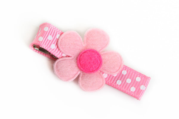 Pink Flower on Pink Dotted Hair Clip