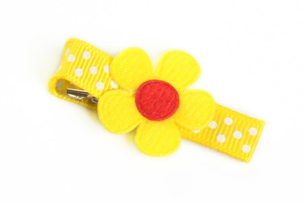 Yellow Flower on Dotted Hair Clip