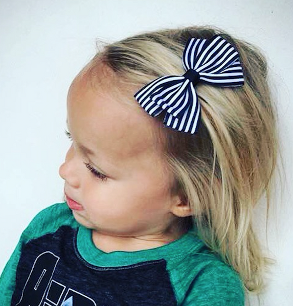 Stripe Lucie Style Bows in Black / White