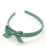 Thin Chevron Bow Headband - Dark Green