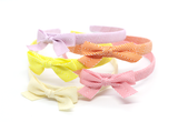 Thin Chevron Bow Headband - Hot Pink
