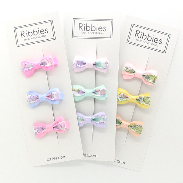 Set of 3 Liberty Bows - Poppy & Daisy Pastel